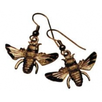Earrings - French Hook with Gold Bee